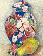 oriental vase and pear